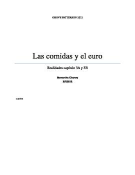 La comida, el euro, y categorias