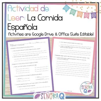 La comida española - Reading Guide and Activities