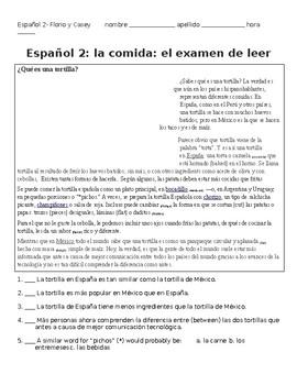 La comida- los 2 tortillas Cultural comparisons reading comprehension in Spanish
