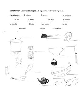 La comida, preguntas y actividad - Food questions and activity - Spanish