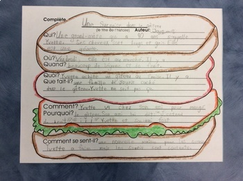 J'aime écrire- FRENCH Story Writing with the sandwich format- Grade 1 and 2
