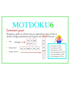 La conjugaison de choisIR au présent: a MOTDOKU6