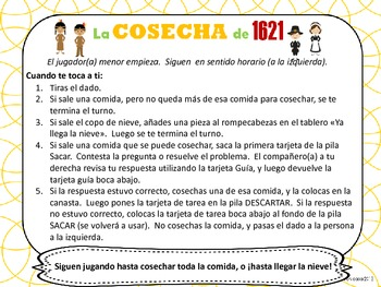 La cosecha de 1621: Thanksgiving Cooperative Game {Spanish Dual Immersion}