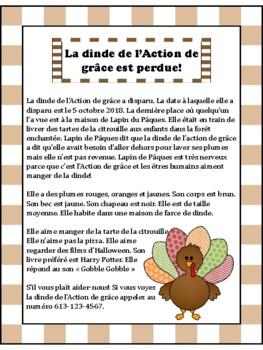 La dinde de l'Action de Grâce est perdu! - French Reading Comprehension