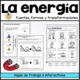 La energía - tipos, fuentes y transformaciones | Energy worksheets SPANISH