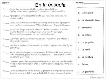 La escuela - Asignaturas escolares ~ School Subjects