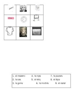 La escuela la sala de clases magic squares Spanish 1 la clase