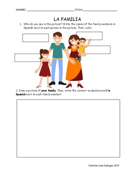 La familia / Family Vocabulary Worksheet Spanish
