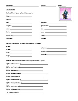 """La familia"" (Family) Worksheet"