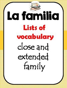 La familia vocabulary lists
