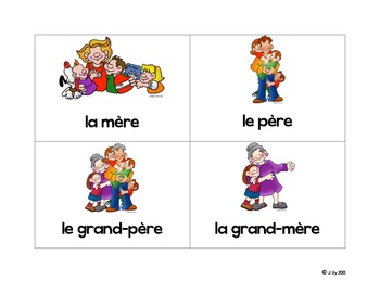 La famille - Family Flash cards in French