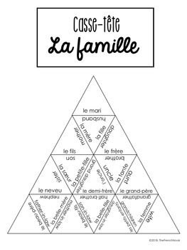 La famille French family vocabulary puzzle and task cards