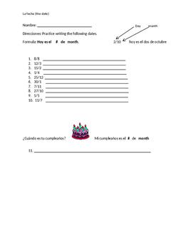 La fecha- date writing practice