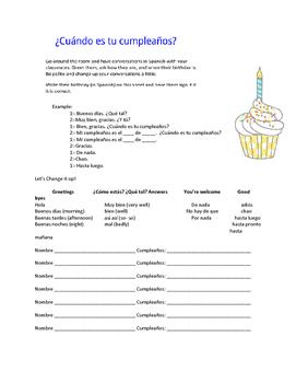 La fecha de tu cumpleaños - Spanish communicative activity