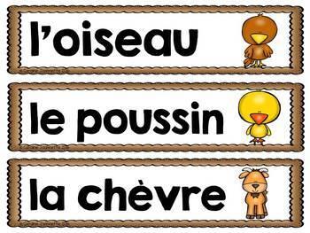 FRENCH Farm Word Wall Cards / La ferme - Mots-étiquettes (script et cursif)