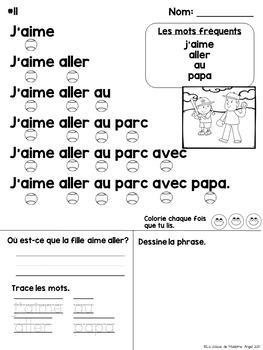 La fluidité avec les mots fréquents:  French Fluency Sentences