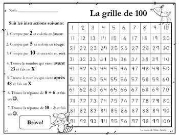 La grille de 100 - French Immersion Activity