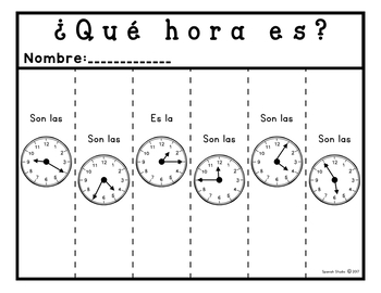 La hora/ Telling Time to the Nearest 5 Minutes (Spanish)