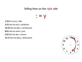 La hora- Telling time in Spanish