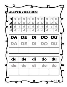 La letra D y silabas