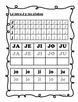 La letra J y silabas