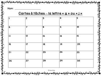 """La lettre """"j"""" ou """"g"""" - Cartes à tâches - French Sounds Task Cards"""