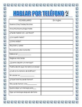 La Llamada -Spanish Phone Call & Reservation- Dialogue Script- Spanish I & II