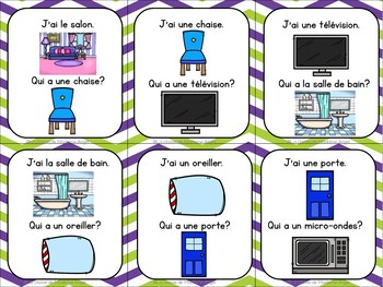 La maison: French House Vocabulary game in French - J'ai. . .Qui a. . .?