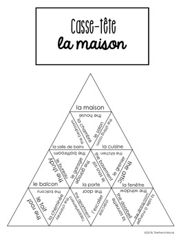 La maison French house vocabulary puzzle and task cards