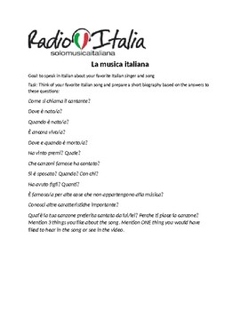 La musica italiana: research project- Italian 3