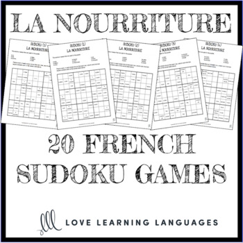 image relating to Printable Vocabulary Games titled La nourriture - 20 no prep printable French sudoku video games