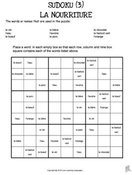 La nourriture - 20 no prep printable French sudoku games