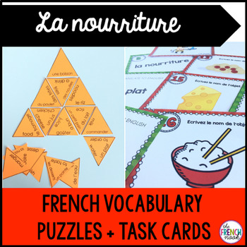La nourriture French food vocabulary puzzle and task cards
