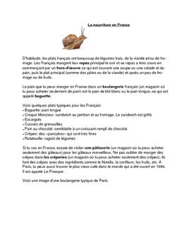 La nourriture en France (Core French/ French Immersion/ Ex