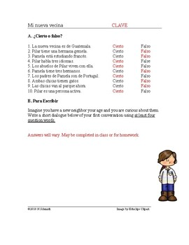 La nueva vecina Lectura con Interrogativos - Spanish Reading with Question Words