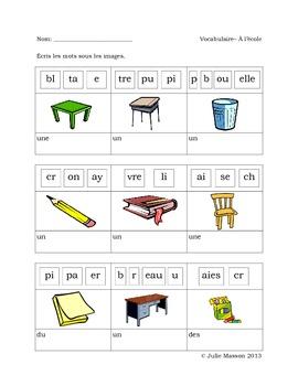 Les pages d'activités «construction de mots» : à l'école