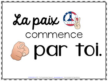 La paix commence par toi slideshow for French classes