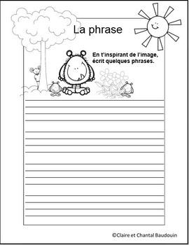 La phrase   J'aime lire!    J'aime écrire!