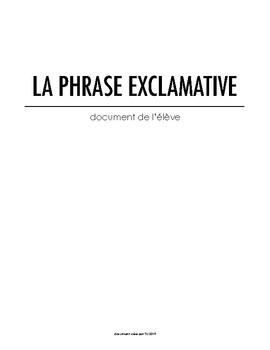 La phrase exclamative - Document de travail