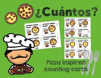 La pizza y los números - Tarjetas para contar (words only)