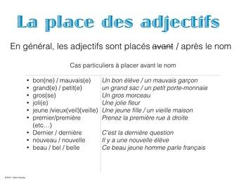 La place des adjectifs en français - POWERPOINT PRESENTATION
