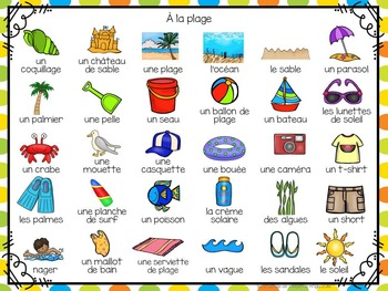 La plage:  3 Beach Themed Vocabulary Games in French