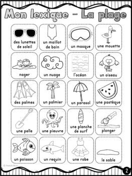 La plage - 48 mots de vocabulaire et lexique / French Beach word wall