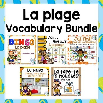 La plage:  Beach Themed Vocabulary BUNDLE in French