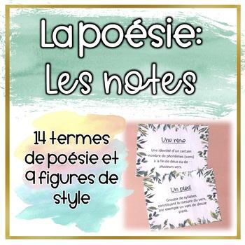 La poésie - Les notes du vocabulaire important