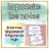 La poésie - Les notes du vocabulaire important
