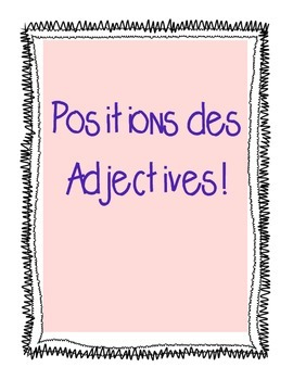 La position des adjectives!