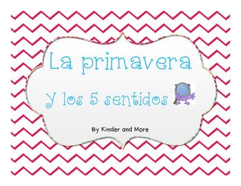 La primavera y los 5 Sentidos: Spanish Writing Center and Vocabulary Cards