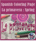 La primavera (spring) -  Spanish Seasons Adult Coloring Page