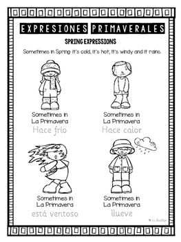 La primavera vocabulary activities ~ Worksheets about Spring